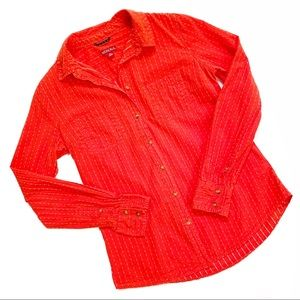 Merona Orange & White Button Down Shirt XS